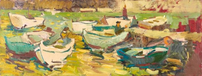 Barche olio su tela – 2015 – cm 50×130