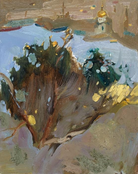 Fronde sul fiume olio su tela – 2015 – cm 50×40