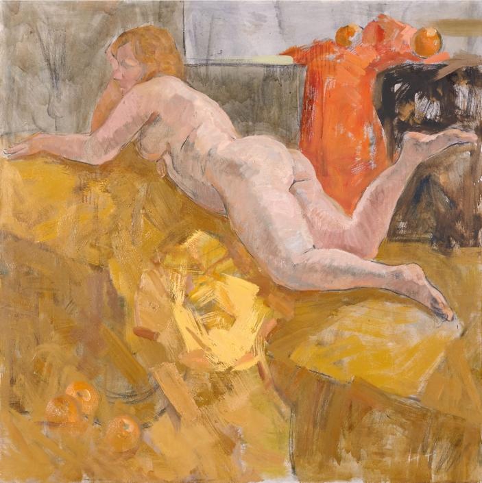 Sofà giallo olio su tela – 2015 – cm 130×124