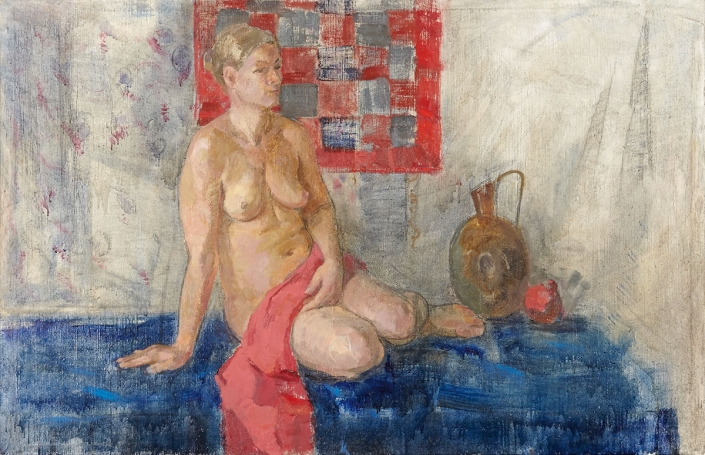 Foulard a quadretti olio su tela – 2015 – cm 90×138