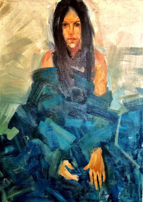 Ragazza in blu olio su tela- 2013 – cm 140×90